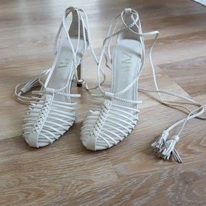 ZARA heeled sandals, tied ankle closure tassels